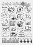 Sketch diagrams infographics. Sketch diagrams charts dot bar pie graphs infographics  set doodle vector illustration Royalty Free Stock Images