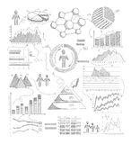 Sketch Diagrams Infographics. Sketch infographic elements with growth diagrams and business strategy arrows symbols vector illustration Royalty Free Stock Photos