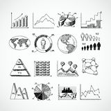 Sketch diagrams set. Sketch business diagrams charts dot bar pie graphs icons set isolated doodle vector illustration Stock Photo
