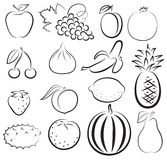 Sketch of different fruits Royalty Free Stock Photography