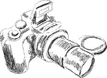 Sketch of digital prodfessional camera Stock Image