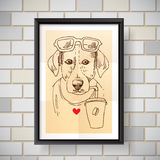 Sketch of dog. Dog drinks coffee. Hand drawn vector illustration for t-shirt, poster, postcard. Ink drawing Stock Images