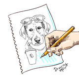 Sketch of dog. Dog drinks coffee. Hand drawn vector illustration for t-shirt, poster, postcard. Ink drawing Royalty Free Stock Photography