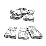 Sketch of dollar bills stacks Royalty Free Stock Photography
