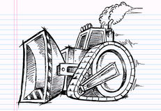 Sketch Doodle Bulldozer Royalty Free Stock Image