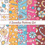 Sketch Doodle Candies Sweets Seamless Patterns Set Royalty Free Stock Image
