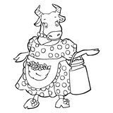 Sketch Doodle Cartoon Cow Stock Photography
