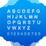 Sketch doodle cloudy font on blue background Stock Images