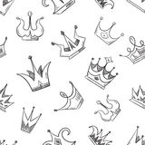 Sketch doodle crowns seamless pattern Stock Photo