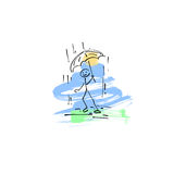 Sketch doodle human stick figure walking in the rain. Hand drawing sketch doodle human stick figure walking in the rain with an umbrella on paint colored spot Stock Photos