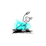 Sketch doodle human stick figure young man goes in for sports Royalty Free Stock Image