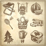 Sketch doodle icon collection, picnic, travel and Royalty Free Stock Photos