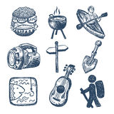 Sketch doodle icon collection, picnic, travel and Stock Photo
