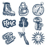 Sketch doodle icon collection, picnic, travel and Royalty Free Stock Images