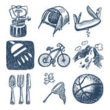 Sketch doodle icon collection, picnic, travel and Stock Photography