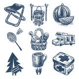 Sketch doodle icon collection, picnic, travel and Royalty Free Stock Photography