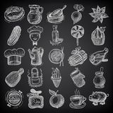 25 sketch doodle icons food on black background Royalty Free Stock Photos