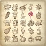 25 sketch doodle icons food. On grunge paper background Royalty Free Stock Photography