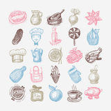 25 sketch doodle icons food set. Vector illustration collection Royalty Free Stock Image