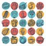 25 sketch doodle icons food Royalty Free Stock Image