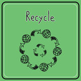 Sketch doodle recycle reuse symbol. Stock Images
