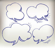 Sketch doodle speech cloud illustration set Royalty Free Stock Images