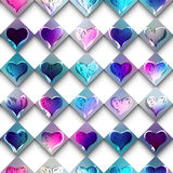 Sketch doodles hearts on checkered background. Stock Photography