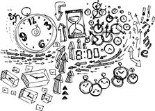 Coloring Sketch doodles: Time Royalty Free Stock Images