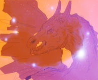 Sketch dragon and stars, computer draw, orange background. Royalty Free Stock Photo