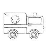 Sketch draw ambulance car cartoon Stock Photography