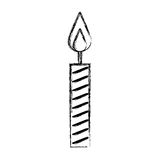 Sketch draw birthday candle. Cartoon vector graphic design Stock Photos