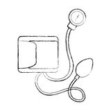 Sketch draw blood plessure apparatus cartoon Royalty Free Stock Photography