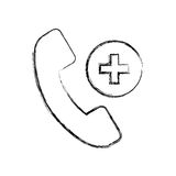Sketch draw emergency call cartoon. Sketch draw emergency phone call cartoon vector graphic design Stock Photography