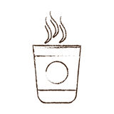 sketch draw plastic cup coffee portable Royalty Free Stock Images