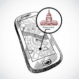 Sketch draw smartphone with map. Sketch draw smartphone with navigation map and find government building vector illustration Royalty Free Stock Images