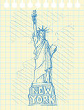 Sketch draw of statue of liberty. In New York Royalty Free Stock Images