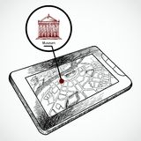 Sketch draw tablet pc with navigation map. And find museum building vector illustration Stock Image