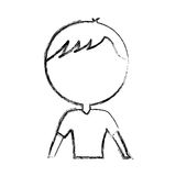Sketch draw upper body man cartoon Stock Photo
