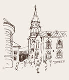 Sketch drawing of the bell tower church top view in old town Bud Royalty Free Stock Photography