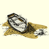 Sketch drawing boat on ground vector Royalty Free Stock Image