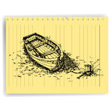 Sketch drawing boat  on lined  paper page vector Royalty Free Stock Photography
