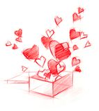Sketch Drawing Box with Hearts, isolated on white Royalty Free Stock Photo