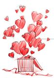 Sketch Drawing Box with Hearts, isolated on white Royalty Free Stock Images
