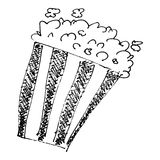 Sketch drawing of a bucket of popcorn Stock Photography
