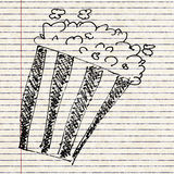 Sketch drawing of a bucket of popcorn Royalty Free Stock Image