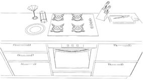 Sketch Drawing Of Built In Kitchen Stove And Oven Black White Stock Images