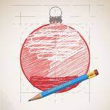 Sketch drawing of Christmas background Stock Photography