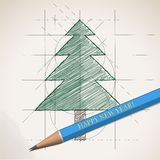 Sketch drawing of Christmas background Stock Images