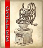 Sketch drawing of coffee grinder on grunge Stock Photography