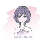 Sketch drawing of cute sad girl with short hairs Royalty Free Stock Image